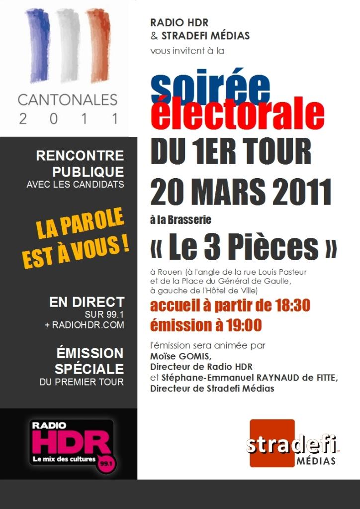 Soirée électorale en direct et en public à Rouen le 20 mars ! Qu'on se le dise !